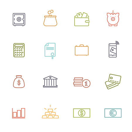 paper currency: Money and finance line icons vector collection