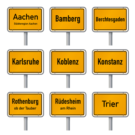 Germany Tourism Highlights City Limits Sign Vector Set 1