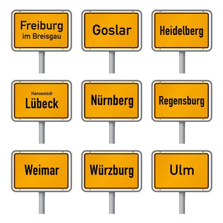 Germany Tourism Highlights City Limits Sign Vector set 2 Illusztráció