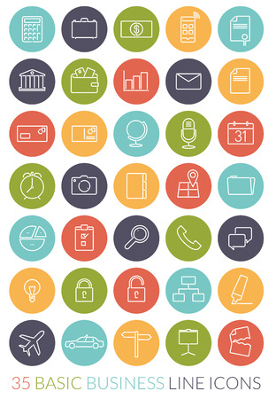 adress: Set of 35 basic business line icons in colored circles Illustration