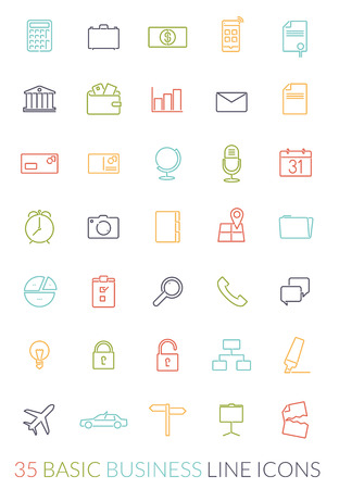 Set of 35 basic business colored line icons Imagens - 36263514