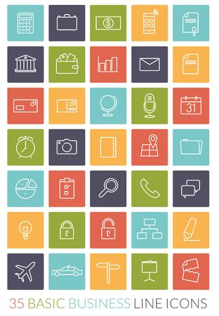 adress book: Set of 35 basic business line icons in colored squares