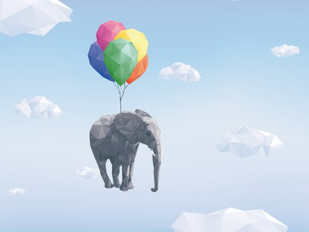 Low Poly Elephant attached to balloons flying through cloudy sky Stock Illustratie