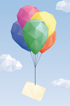 Low Poly balloons with greeting card in the sky