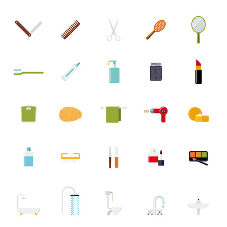 Bath and beauty flat design icons isolated on white background Vector
