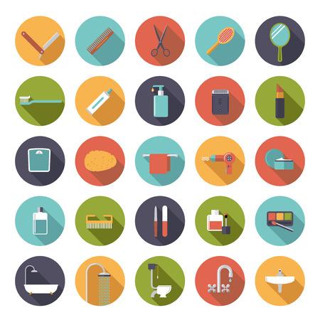 agua grifo: Baño e iconos relacionados con la belleza en círculos, diseño plano