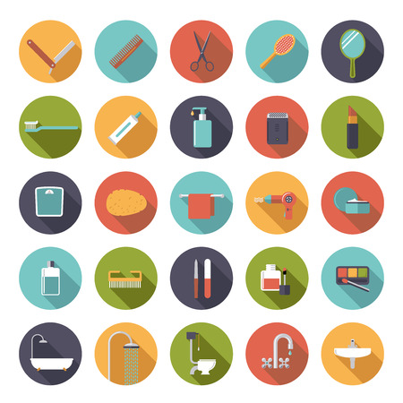 on tap: Bath and beauty related icons in circles, flat design Illustration