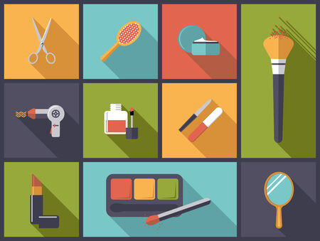 hair styling: Makeup and hair styling Flat Design Icons Vector Illustration