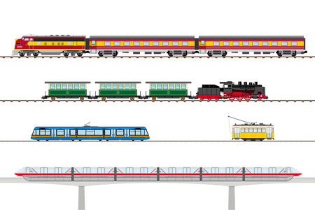 on train: Tranv�as y trenes hist�ricos y contempor�neos ilustraci�n vectorial Vectores