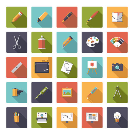 Art and design square flat icon vector collection Vector
