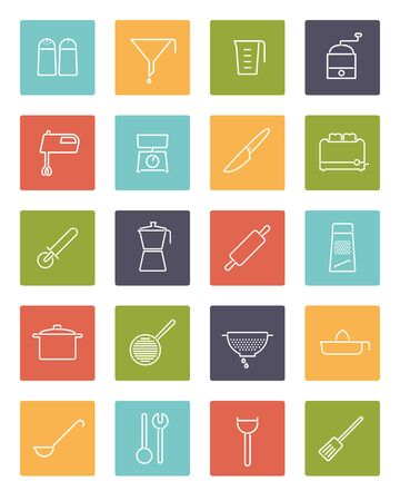 pepper grinder: Set of 20 kitchen and cooking related line icons in colored squares
