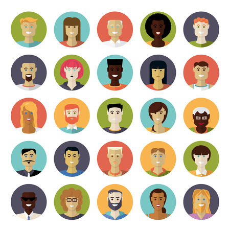 ethnicity: Flat Design Everyday People Avatar Circular Vector Icon Set