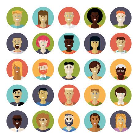 circulo de personas: Piso Dise�o Diario Popular Avatar Circular Vector Icon Set Vectores