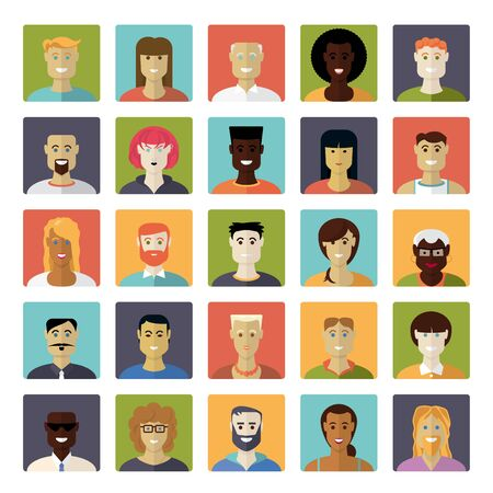 Flat Design Everyday People Avatar Square Vector Icon Set