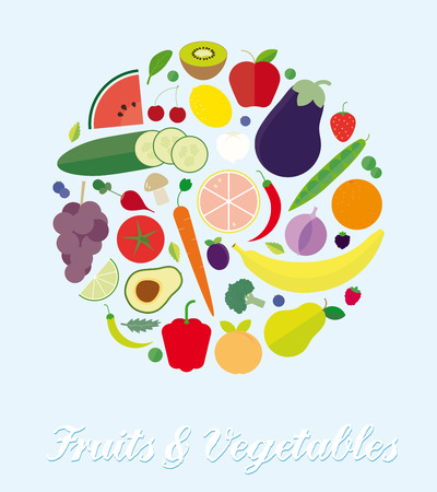assortment: Fruits and Vegetables Assortment Simple Flat Vector Illustration