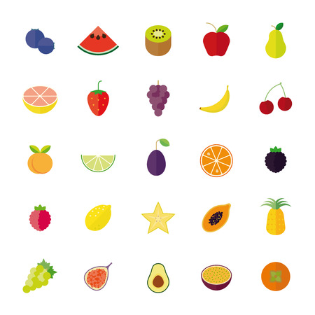 exotic fruits: Flat Design Fruit Isolated Vector Icon Set Illustration