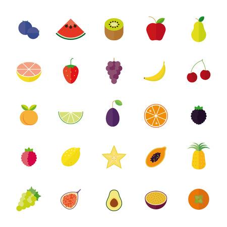 Flat Design Fruit Isolated Vector Icon Set Ilustrace
