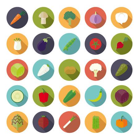 Vegetables Flat Design Circular Vector Icon Set