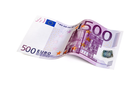 euro bill: five hundred Euro bill in wave shape isolated with clipping path