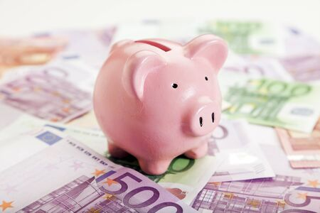 european currency: pink piggy bank upon european currency bills