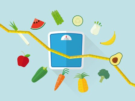 body consciousness: Flat design diet concept with scales, fruit and vegetables icons