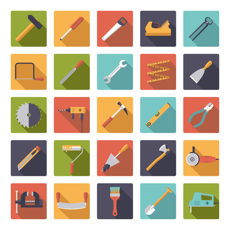 yardstick: Set of 25 tools and crafting icons in rounded squares, flat design
