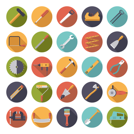 angle grinder: Crafting Tools Flat Design Circular Icons Collection Illustration