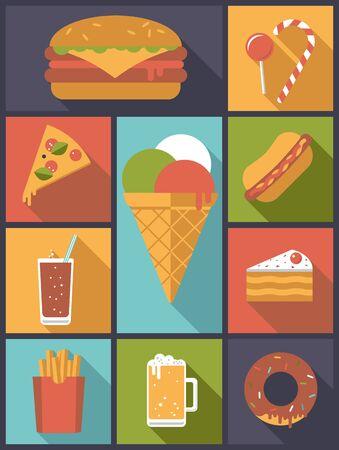 Junk food design plat icônes illustration vectorielle