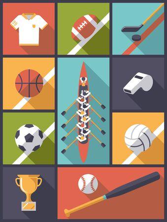equipe sport: Appartement Design Team Sport Icons Vector Illustration Illustration