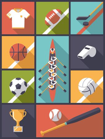 team sports: Flat Design Team Sports Icons Vector Illustration Illustration