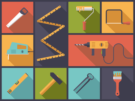 home improvement: Home improvement tools Flat Icons Vector Illustration