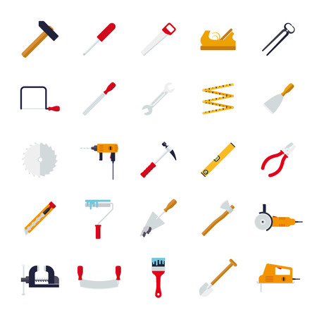 rasp: Crafting Tools Isolated Flat Design Vector Icons Collection