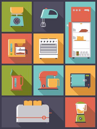 platte ontwerp vector illustratie met keukenapparaat symbolen