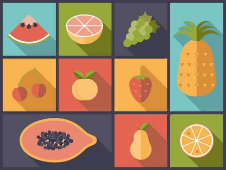 frutas tropicales: Piso de dise�o ilustraci�n vectorial con varios iconos de la fruta