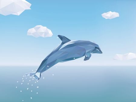 endangered: Low Poly Vector Illustration of Dolphin jumping from the sea