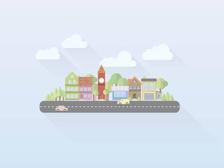 Flat Design Simple Pastel Colored Village Vector Illustration