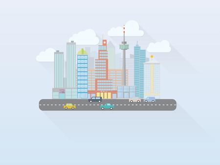 mega city: Flat Design Mega City Cityscape Vector Illustration