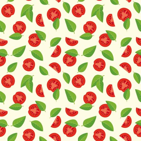 basil: Tomatoes and basil leaves seamless pattern Illustration