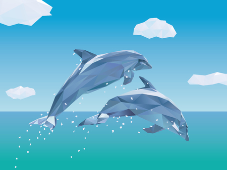 endangered: Two Low Poly Dolphins jumping out of the ocean vector