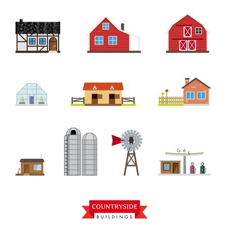 rundown: Countryside Buildings vector set. Collection of 10 design flat buildings typical of the countryside and rural area Illustration