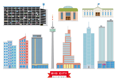 operational: Big City Buildings Vector Set. Collection of 10 design flat buildings typical of big cities and the urban area