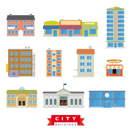 altas: Edificios de la ciudad del vector fijadas. Colección de 10 edificios de diseño planos típicos de la ciudad y el área urbana