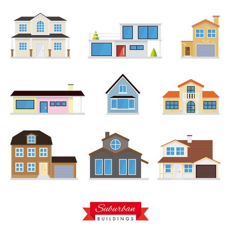 Suburban Buildings Vector Set.Collection of 9 flat design homes typical of the suburban area Vector