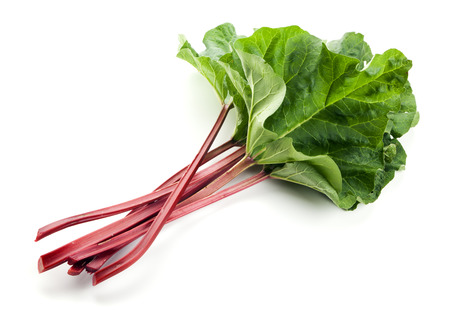 rhubarb: Fresh rhubarb leaf stalks isolated on white background Stock Photo