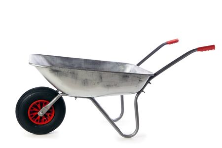 New galvanized wheelbarrow isolated on white background