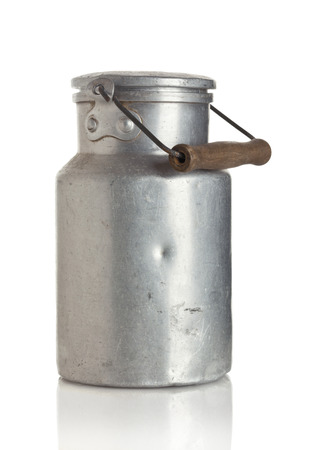 Vintage scratched milk churn isolkated on white background