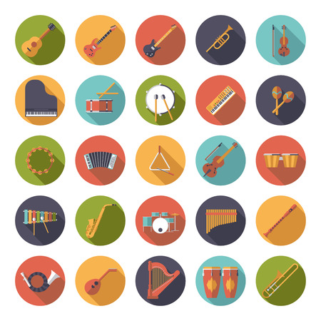 symphony orchestra: Musical Instruments Circular Flat Design Vector Icons Collection