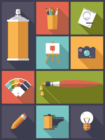 artistic photography: Art design and photography Flat Icons Vector Illustration Illustration