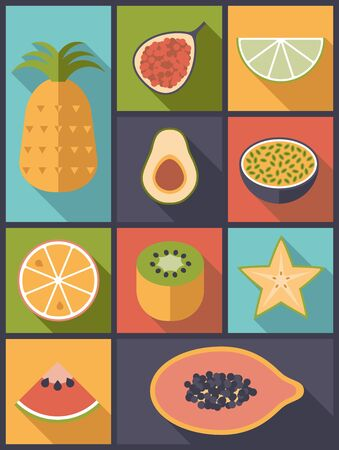 Tropical Fruit Flat Icons Vector Illustration