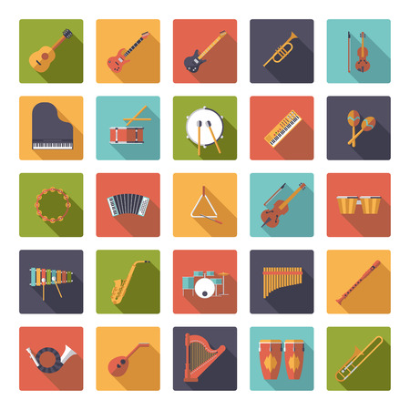 Musical Instruments Flat Design Vector Square Icons Collection  イラスト・ベクター素材